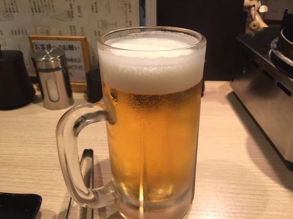 東京 荻窪 藤栗ホルモン 生ビール