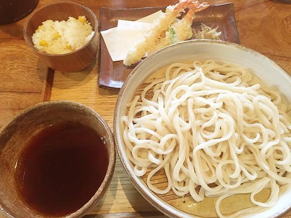 東京 恵比寿 うどん山長|海老天きんぴら薬味うどん