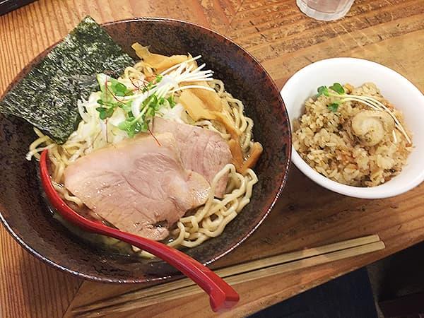 神奈川 淵野辺 貝ガラ屋|牡蠣ソバ貝めしセット