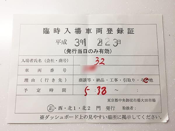 東京 大田 三洋食堂|入場許可証