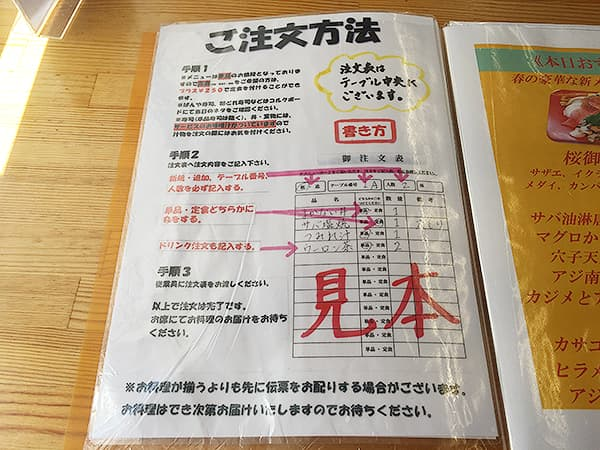 千葉 保田 漁協直営食堂 ばんや|注文方法