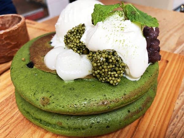京都 右京区 嵯峨野湯|抹茶づくしのパンケーキ