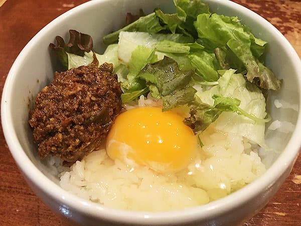 東京 高田馬場 鶏白湯 蔭山 高田馬場店 肉みそ卵かけ御飯