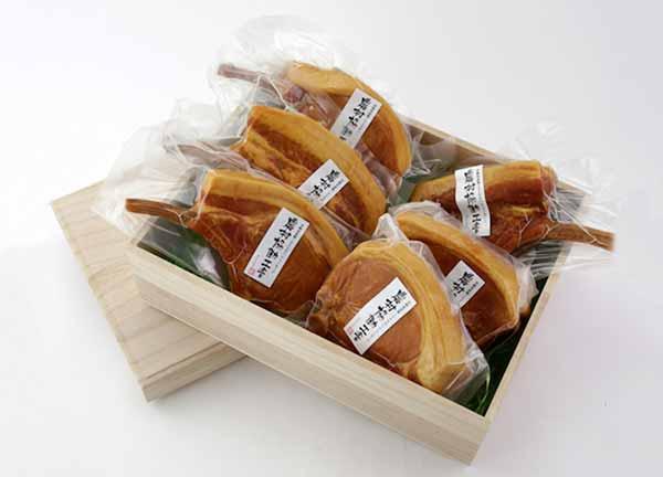 『宮崎県産豚100%使用』謹製骨付きロースハムの詰合せ(計6本)