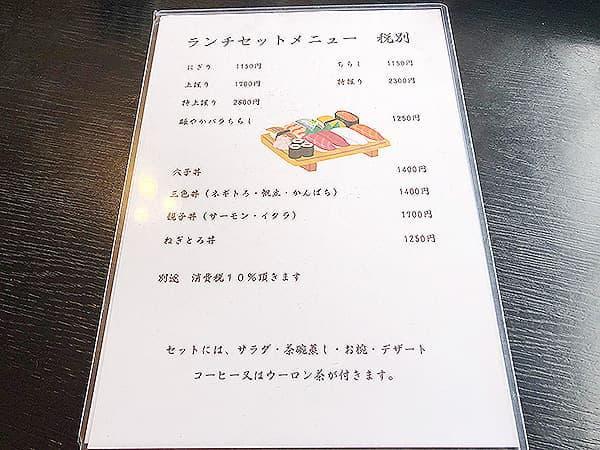 埼玉 秩父 鮨忠|メニュー