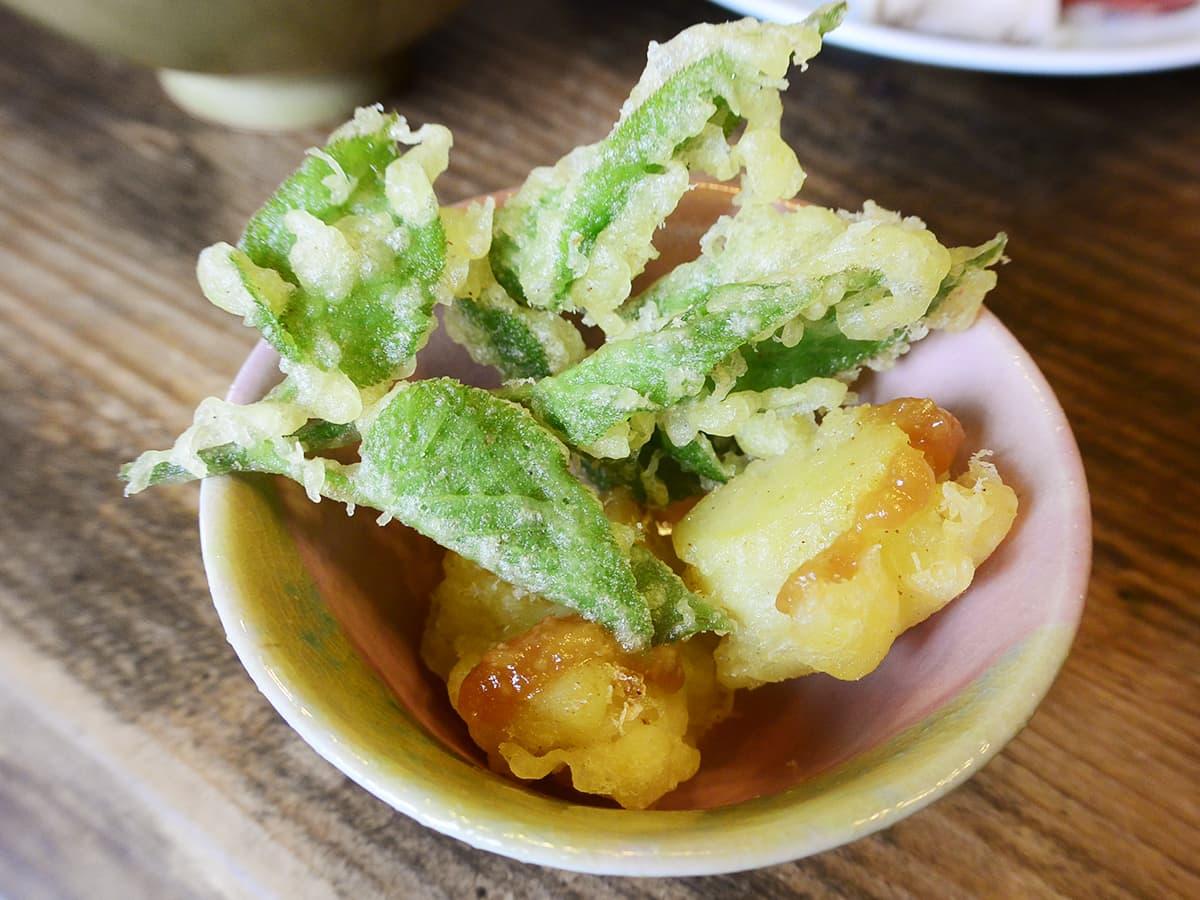 埼玉 秩父 きのこの里 鈴加園 天ぷらと味噌ポテト