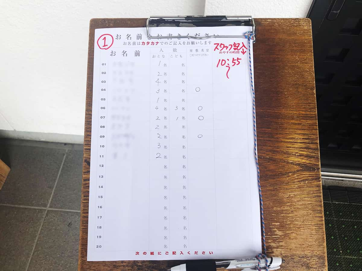 福島 白河 とら食堂|ウェイティングボード