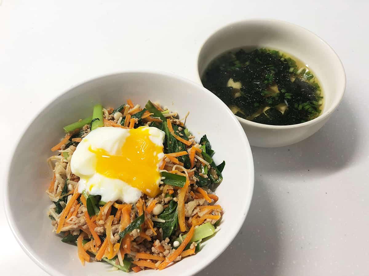 そぼろと野菜のビビンバと韓国風スープ|kit oisix