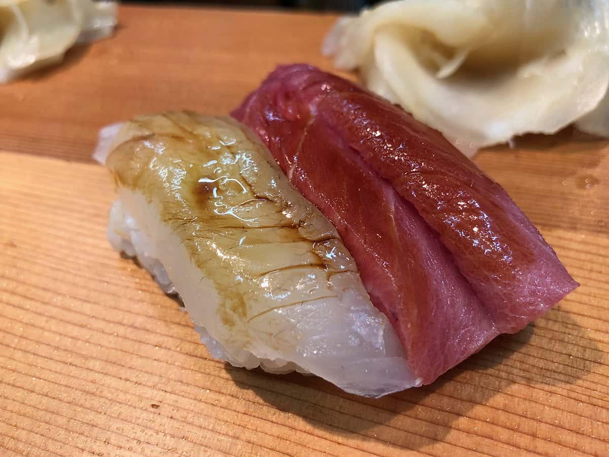 北海道 さっぽろ朝市 鮨の魚政|中トロとヒラメ