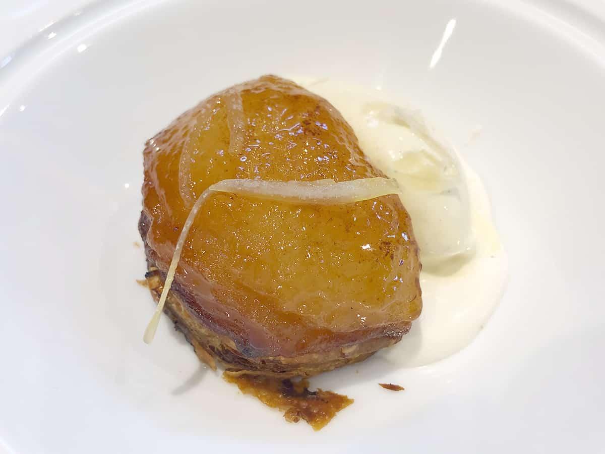 北海道 札幌 レストラン コートドール|和梨のタルトジンジャーレモンシロップとスパイスアイスクリーム
