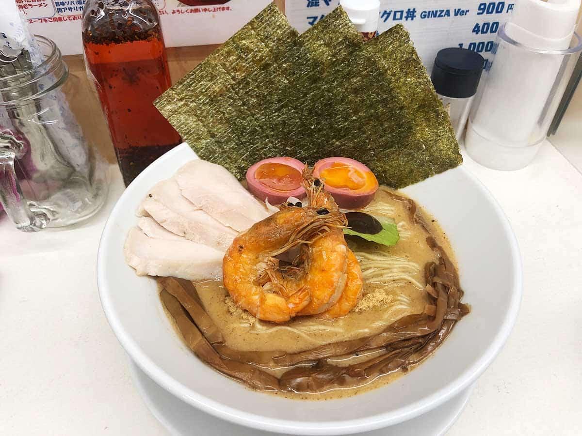 東京 銀座 マグロ卸のマグロ丼とラーメンの店|特製濃厚海老ソバ