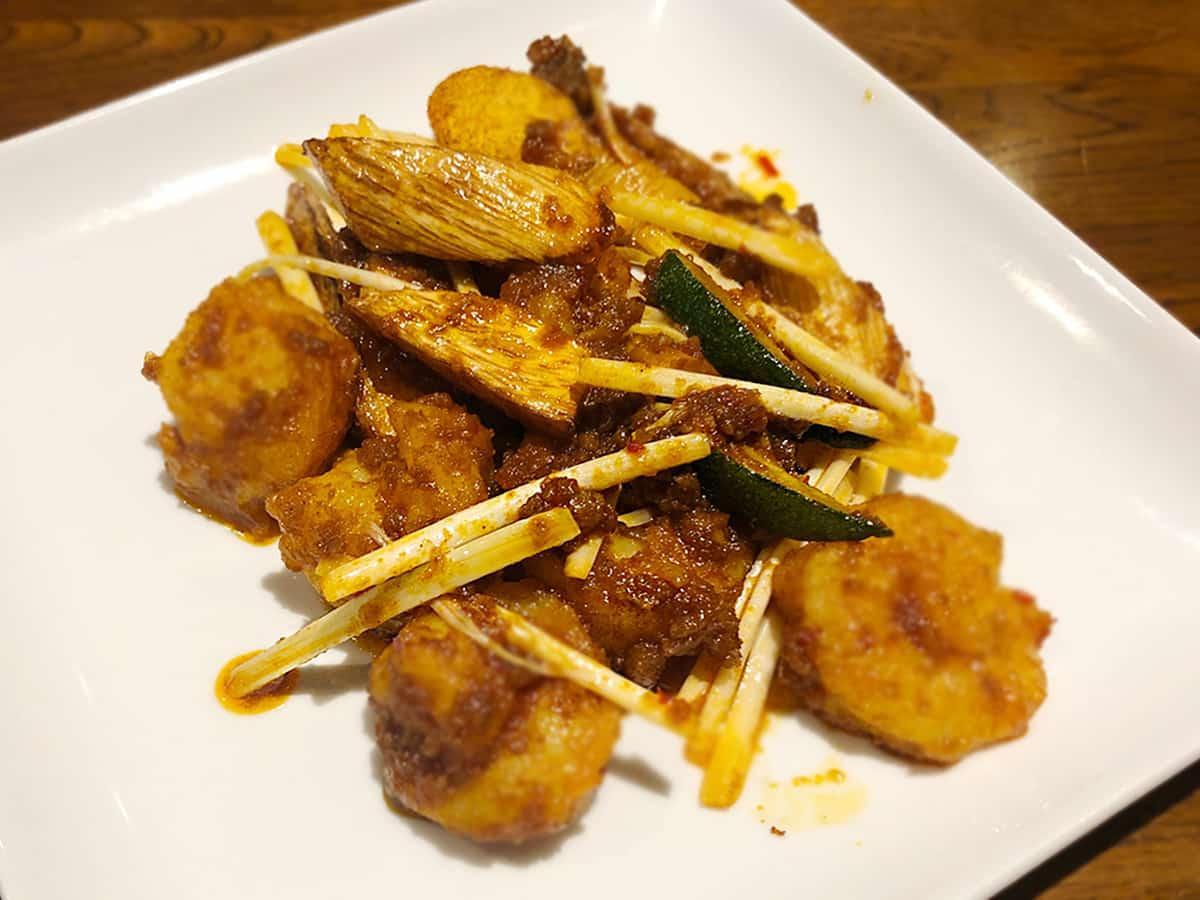東京 小石川 中国料理 豊栄|海老とマコモ茸の豊栄醤炒め